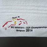 Geborduurde handdoek - EC Veterans - AJA Championships Belgium 2014